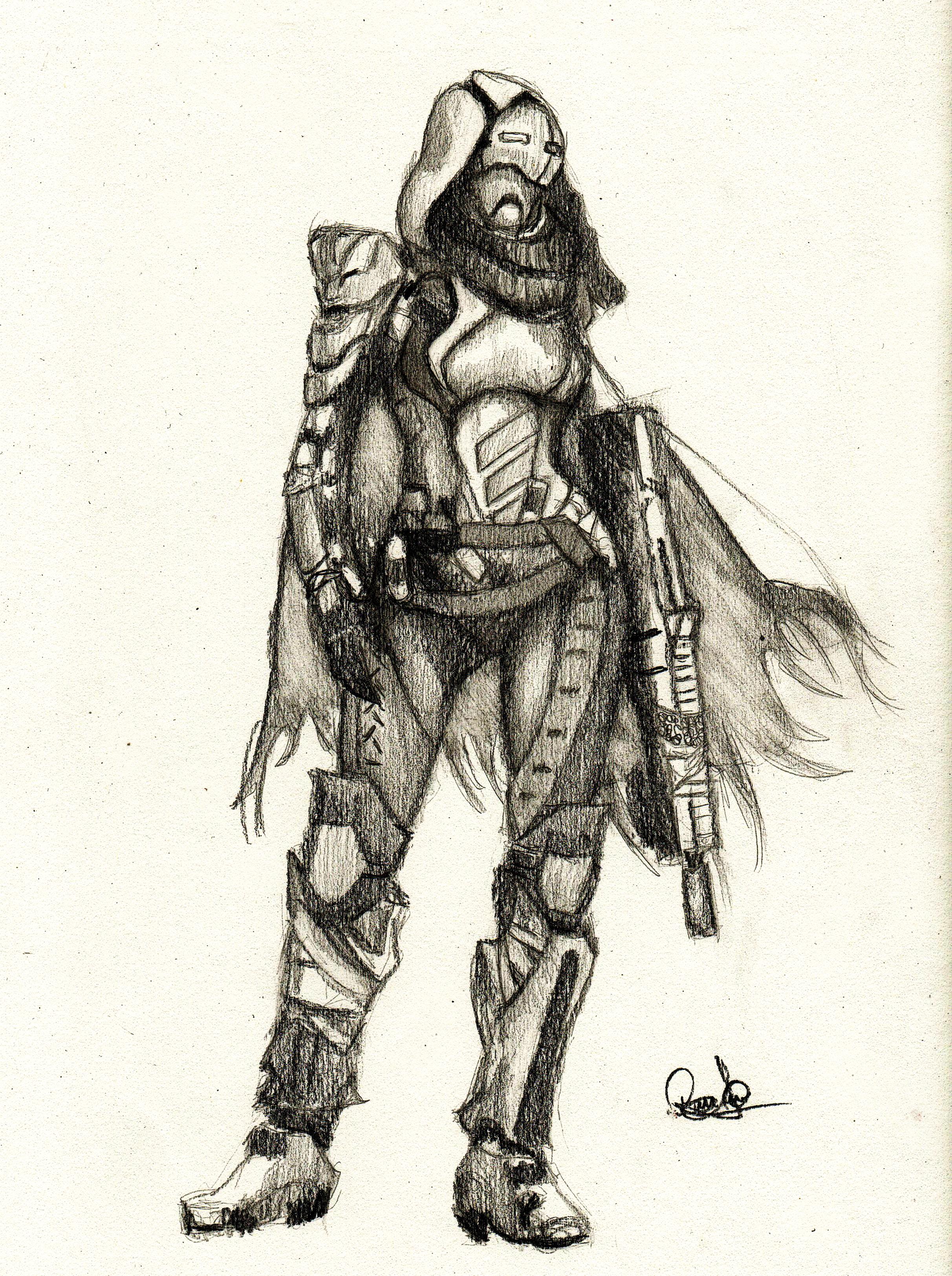 2424x3251 Destiny Female Hunter. Drawing In Graphite 9x12 80 Lb Paper