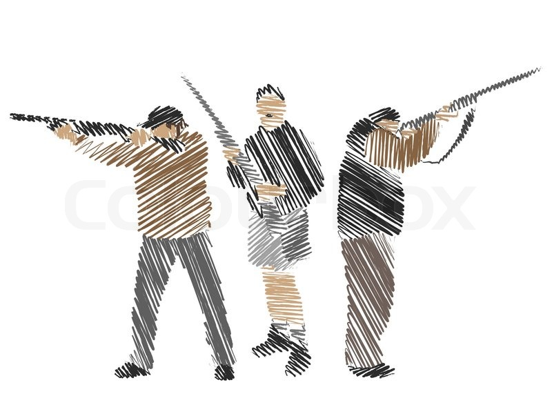 800x590 Hand Drawing Collection Of Hunters, Vector Illustration Stock