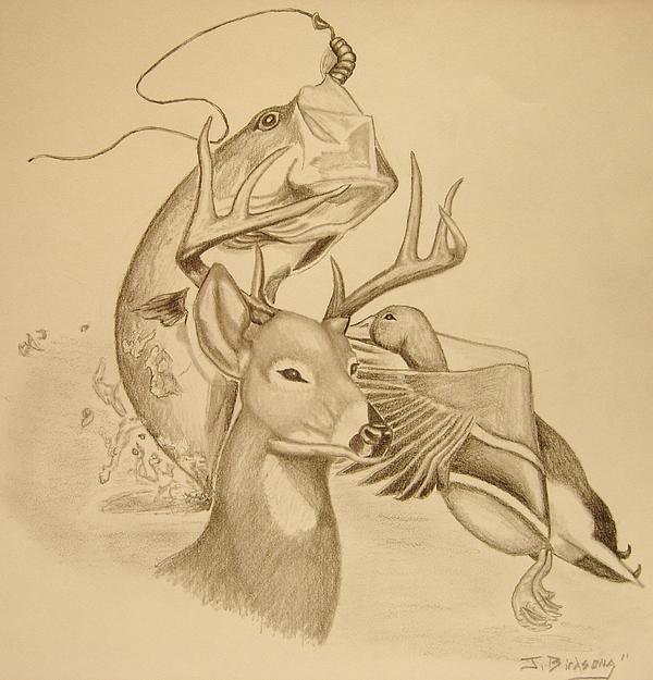 600x625 Happy Hunter Drawing By Jason Birdsong
