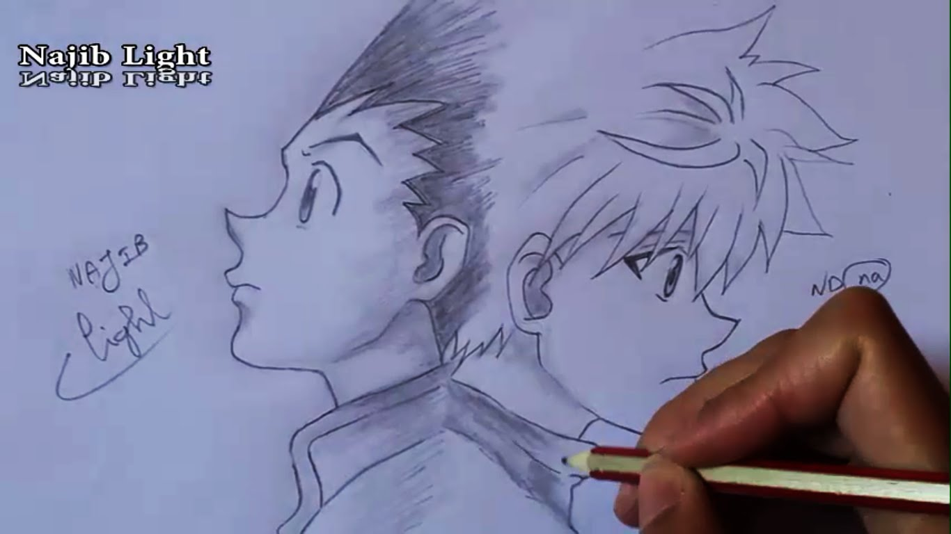 1366x768 Drawing Gon And Killua's Departure From Hunter X Hunter