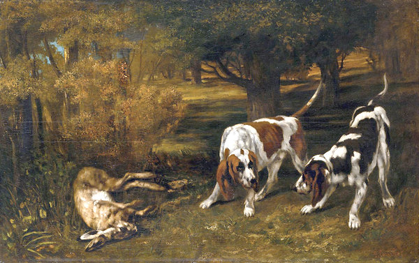 600x377 Gustave Courbet,ltemgt Hunting Dogs With Dead Hareltemgt (1857