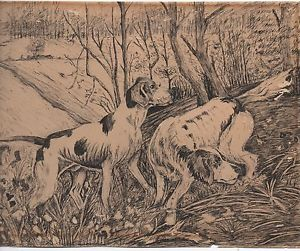 300x251 Wonderful 1920s Ink Drawing On Paper Of Two Hunting Dogs In