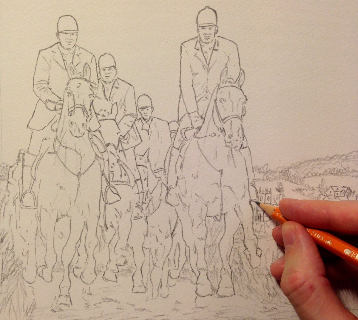 1200x1072 Conor K. Lynch On Twitter Drawing A Hunting Scene. Pencil, Then