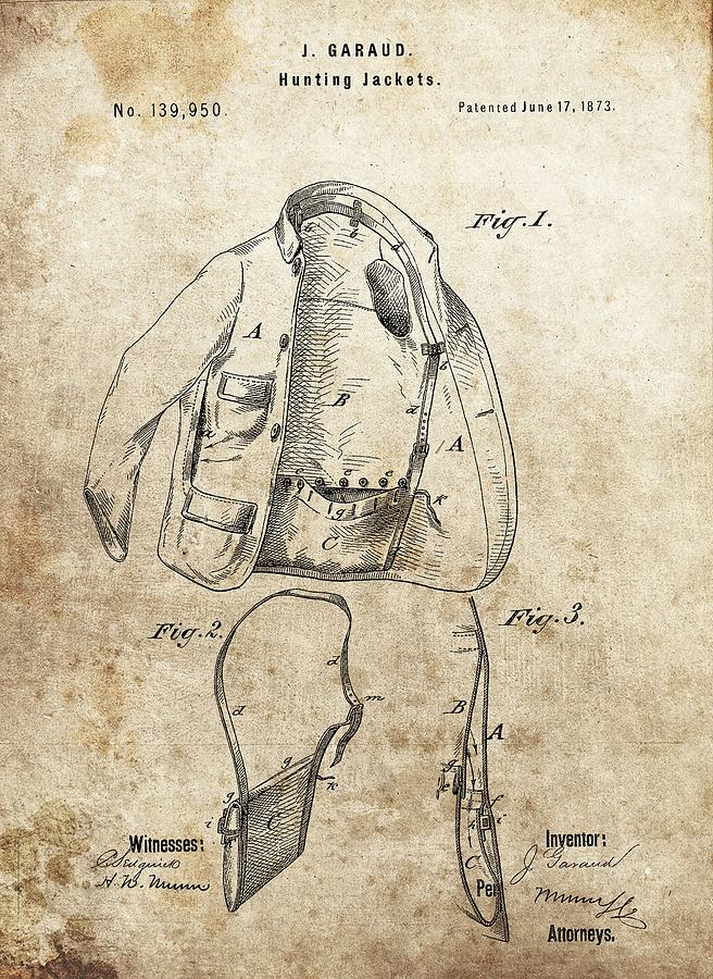 656x900 Vintage Hunting Jacket Patent Drawing By Dan Sproul