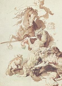 219x300 Wolf Hunting Drawings Fine Art America