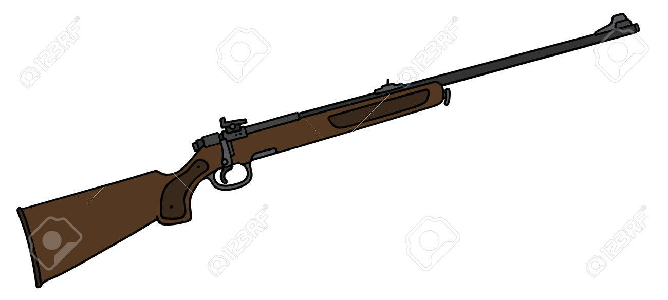 1300x584 Hand Drawing Of A Classic Hunting Rifle Royalty Free Cliparts