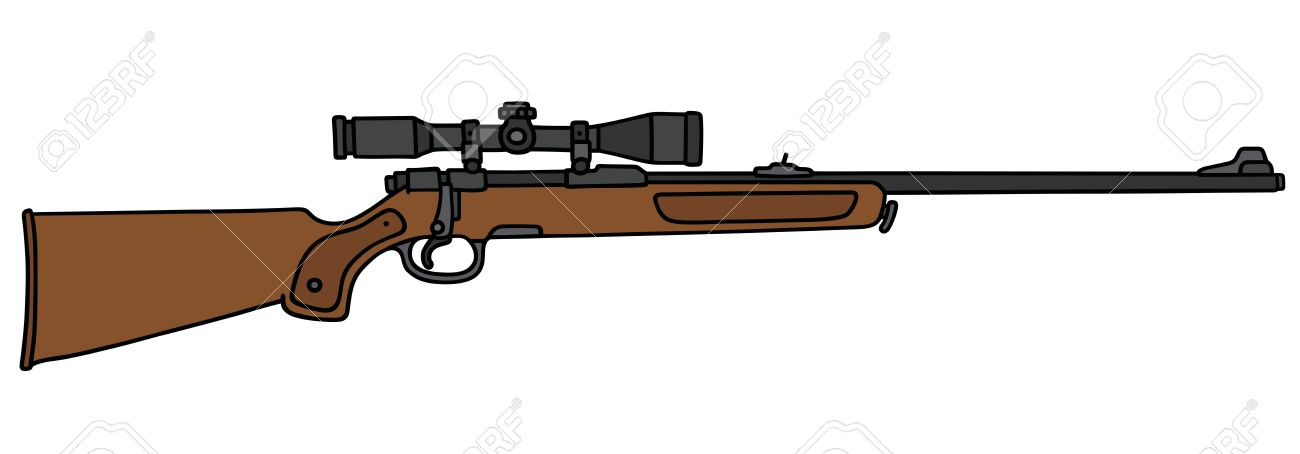 1300x454 Hand Drawing Of A Classic Hunting Rifle With A Telescope Royalty