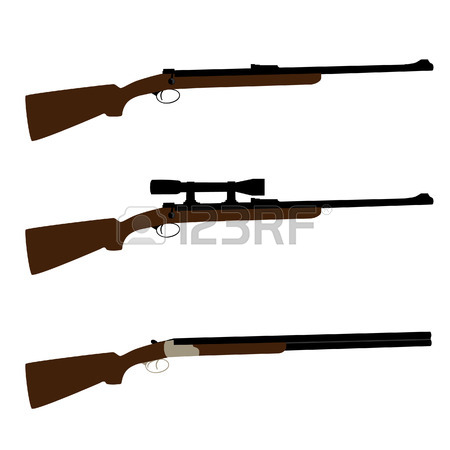 450x450 Vector Illustration Of Hunting Rifle Outline Drawing. Rifle