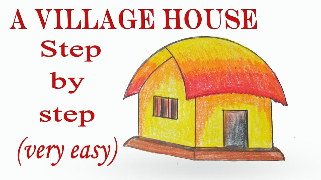 1280x720 How To Draw A Village House Hut Step By Step ( Very Easy )