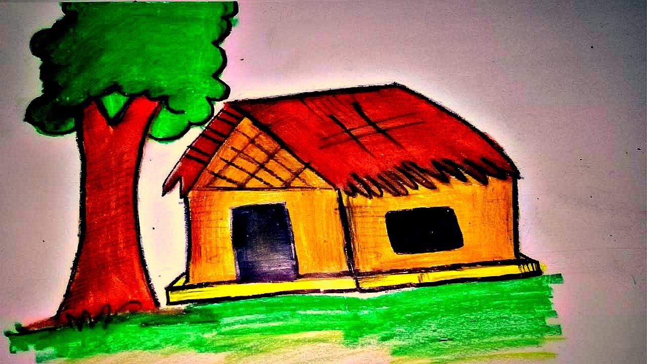 1280x720 How To Draw A Simple Hut Village House For Kids Easy Drawing
