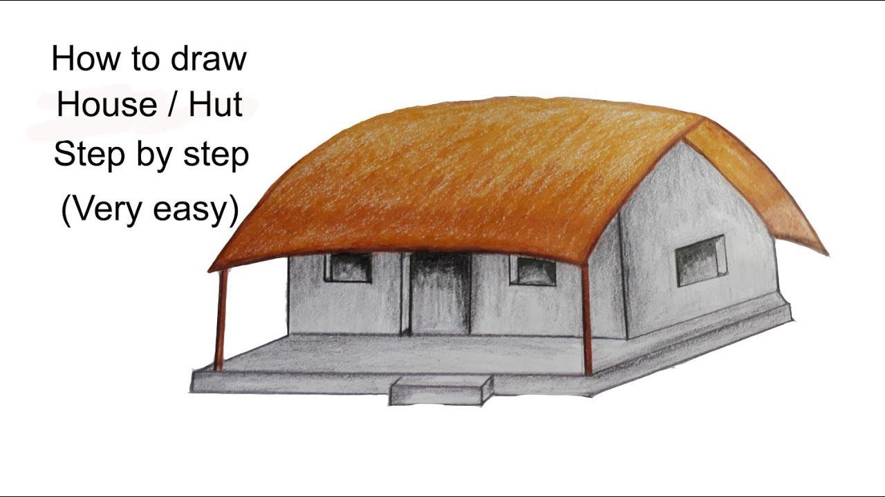 1280x720 How To Draw Househut(Very Easy)
