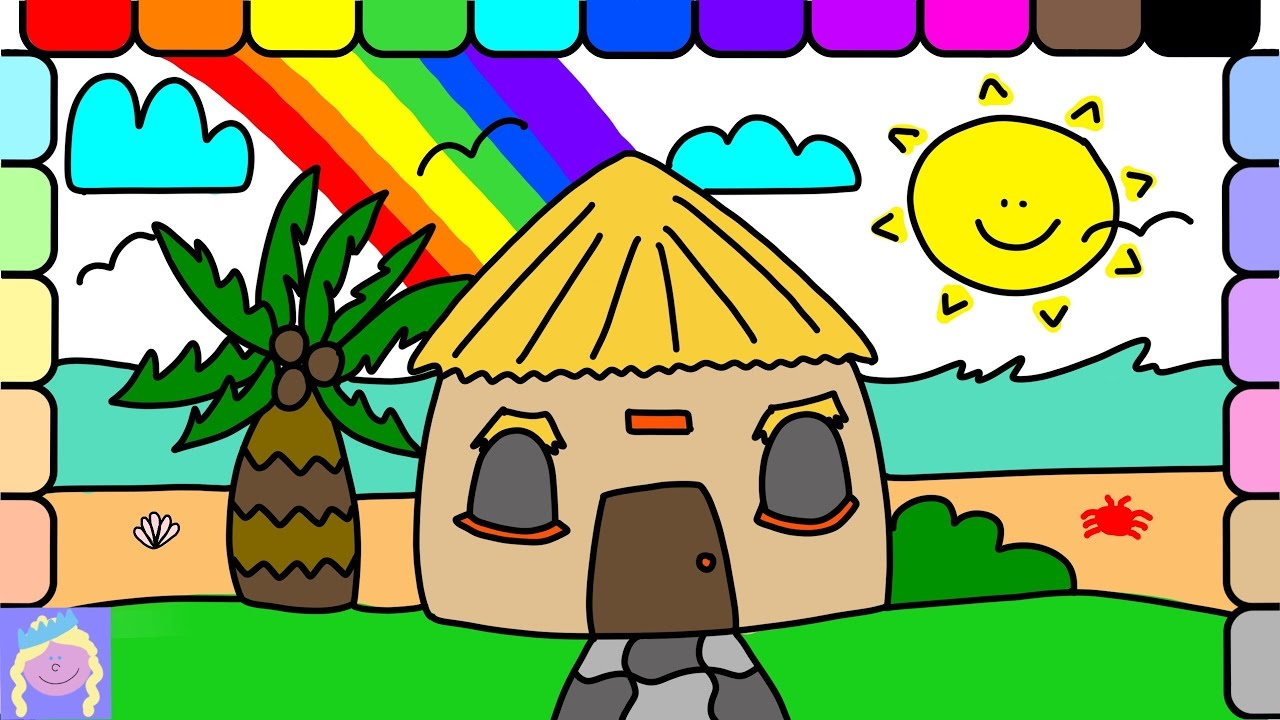 1280x720 Learn How To Draw A Beach Hut With This Easy Drawing And Coloring