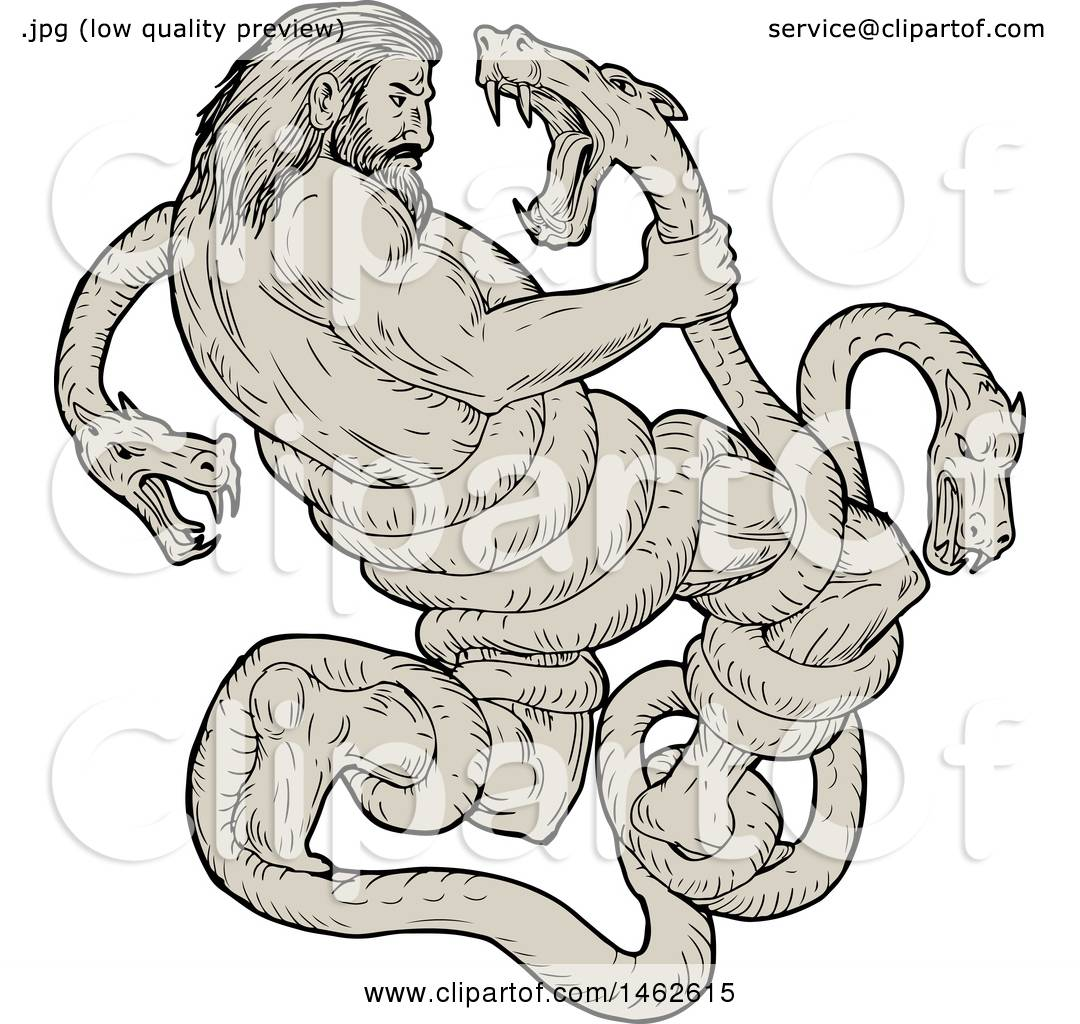 1080x1024 Clipart Of A Scene Of Hercules Fighting Lernaean Hydra, In Drawing