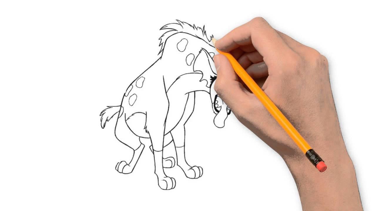 1280x720 Hyena Animals Pencil To Draw Step By Step