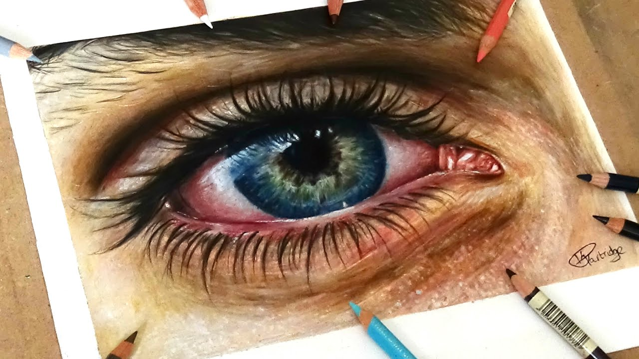 1280x720 Speed Drawing Drawing A Realistic Eye In Coloured Pencil