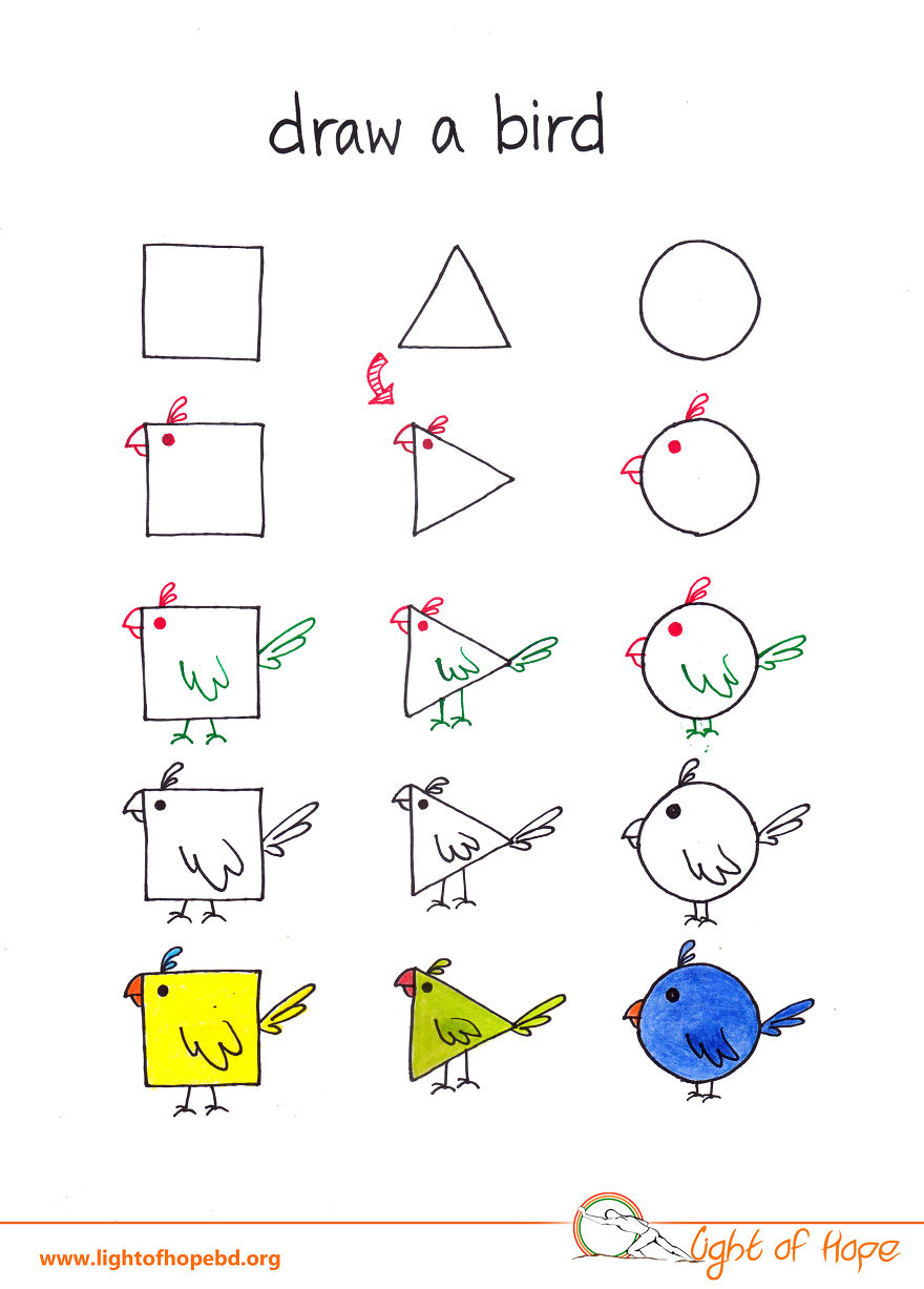 880x1227 How To Draw Any Animal From A Square, A Triangle And A Circle