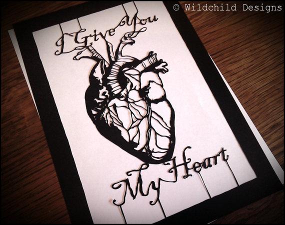 570x450 I Give You My Heart Gothic Valentine Human Anatomical Heart