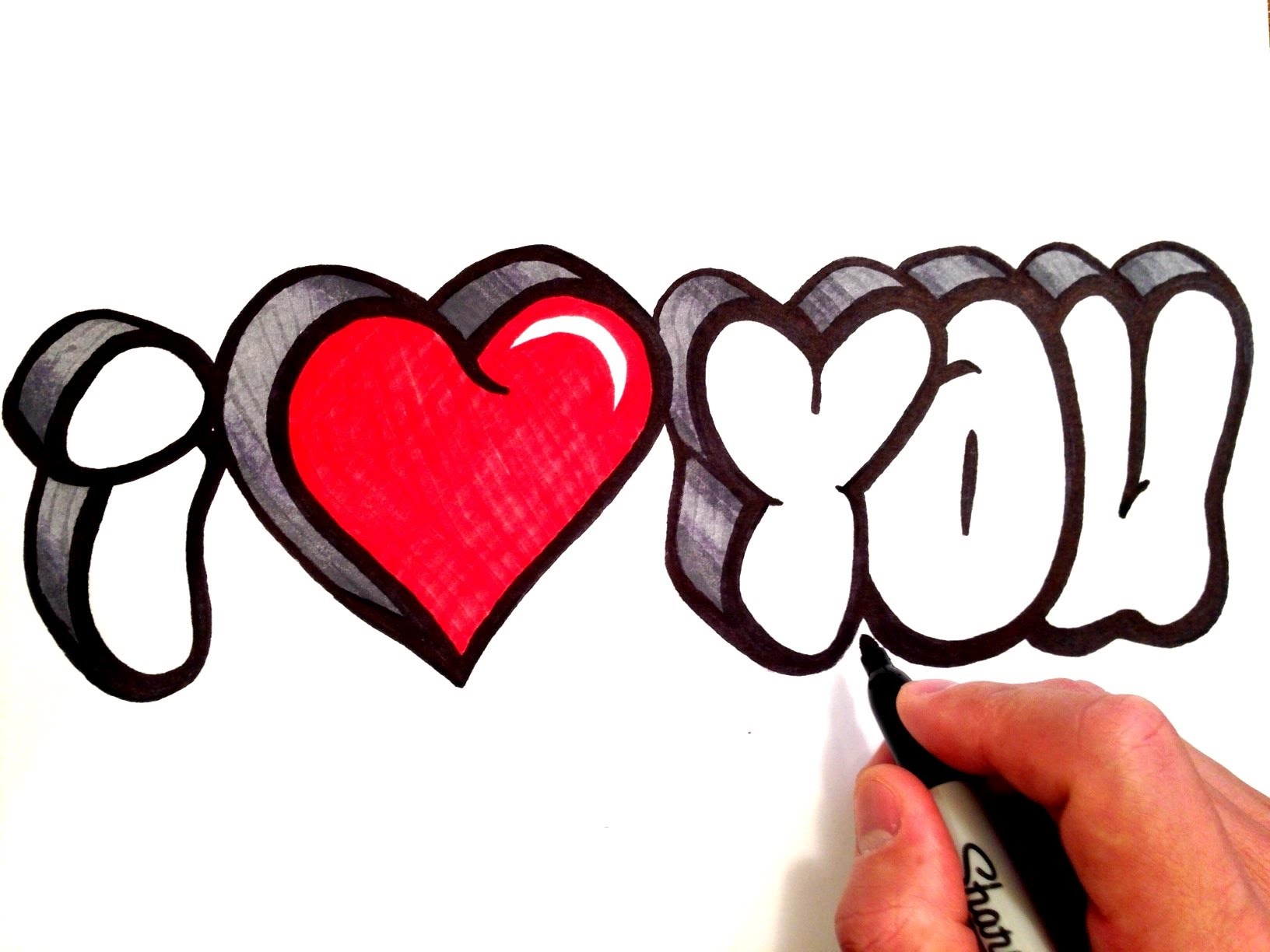 1632x1224 How To Draw I Love You In 3d Bubble Letters