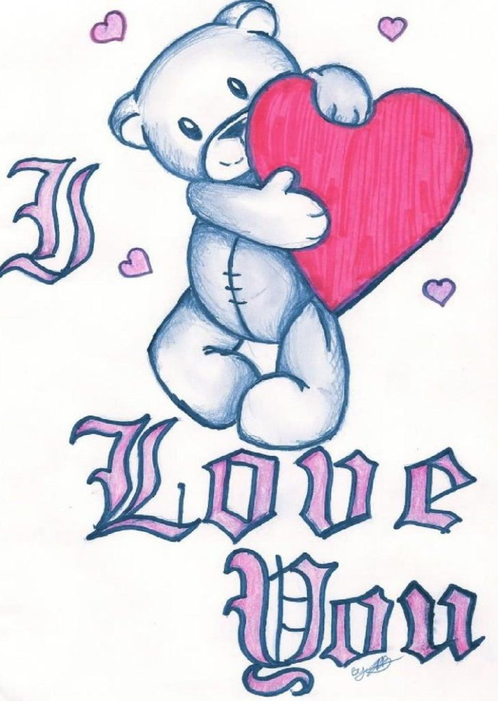 727x1024 Drawing Easy I Love You Drawings For Him Also