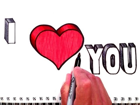 480x360 How To Draw I Love You With Heart In 3d