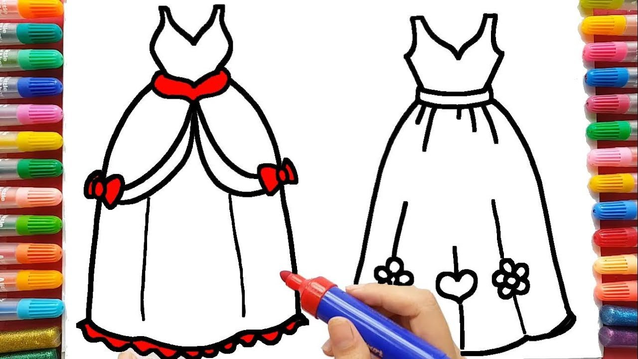 1280x720 Princess Dress Drawing, Art For Kid Help Toddlers How To Draw