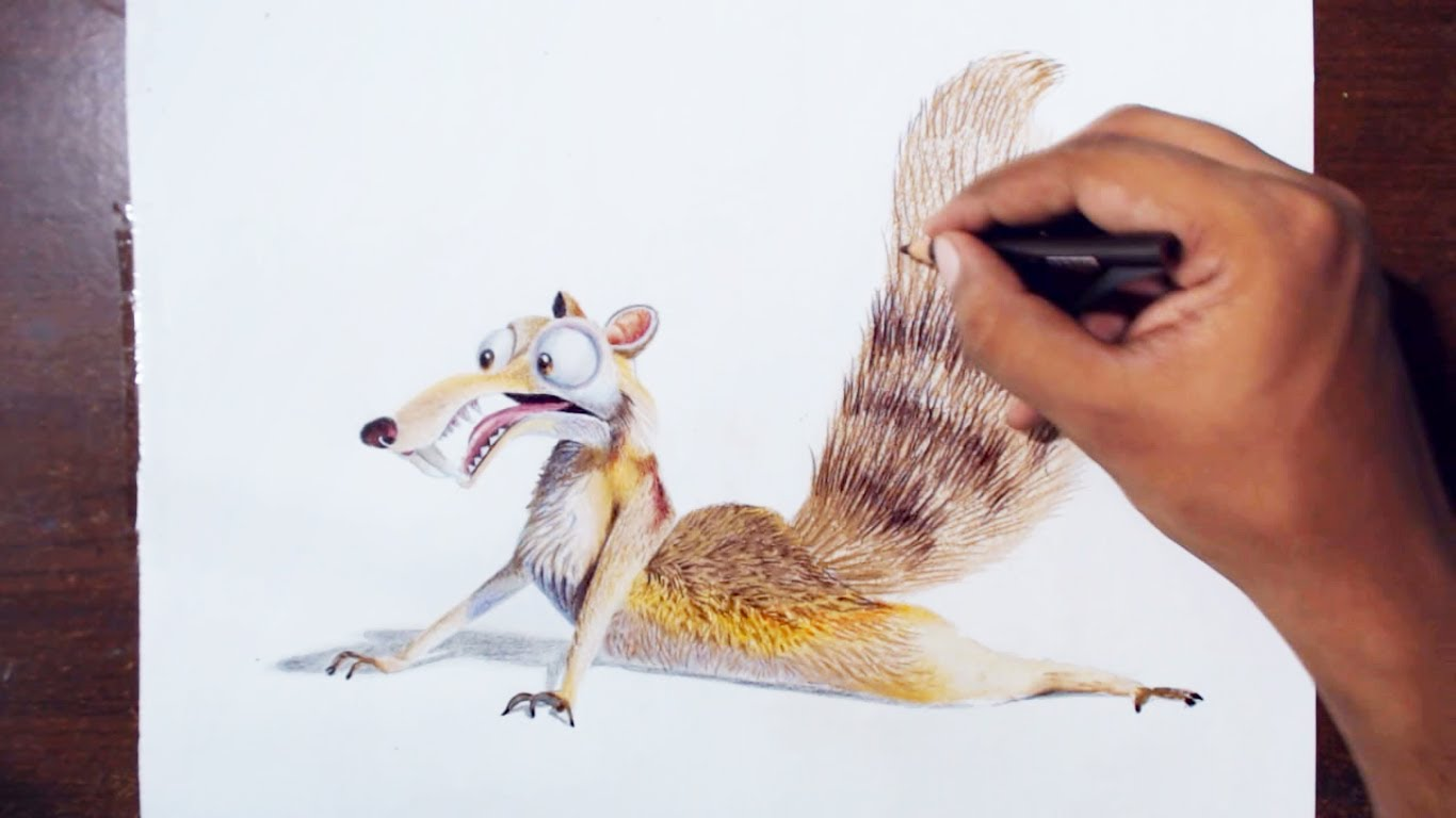 1366x768 Drawing Scrat (The Saber Toothed Squirrel) From The Movie Ice Age