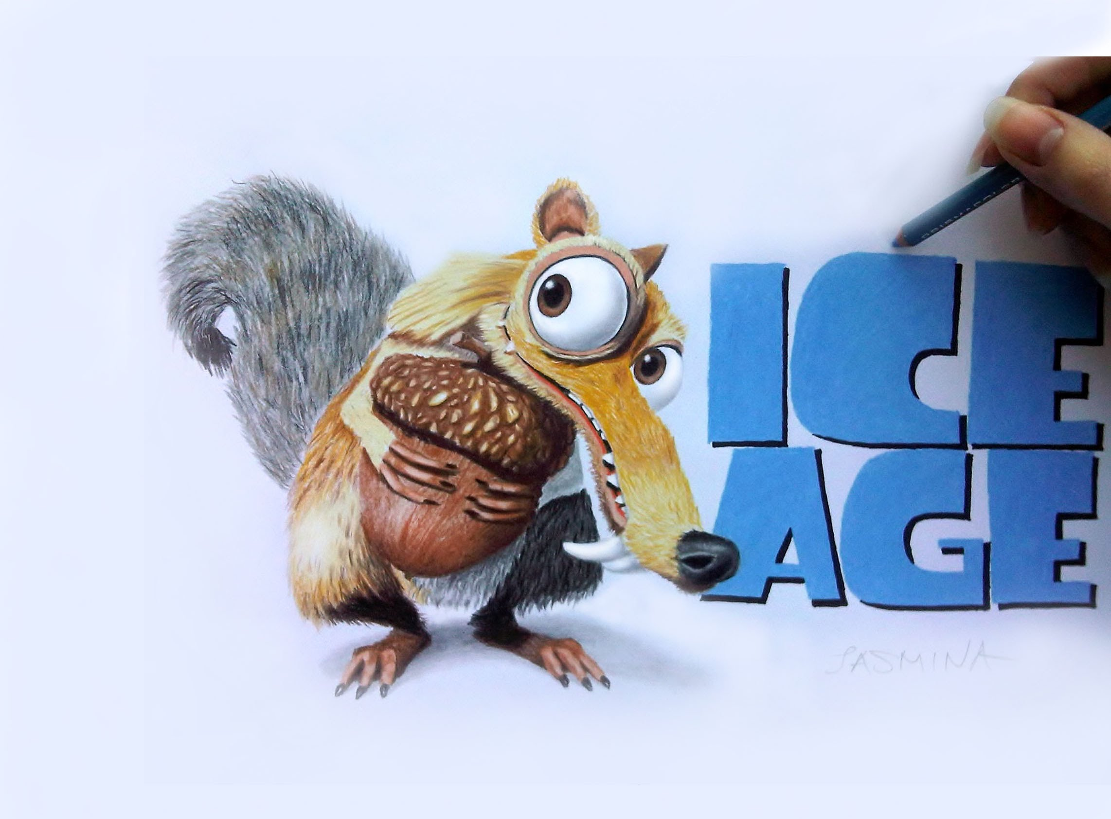 2284x1684 Speed Drawing Of Scrat From Ice Age Movie