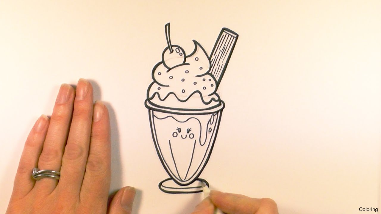 1280x720 5 Drawing Ice Cream Cone1 Coloring Cone 2f Drawings Cup Tumblr Diaiz
