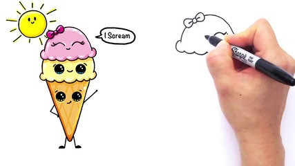 427x240 How To Draw Cartoon Ice Cream On A Cone Cute And Easy
