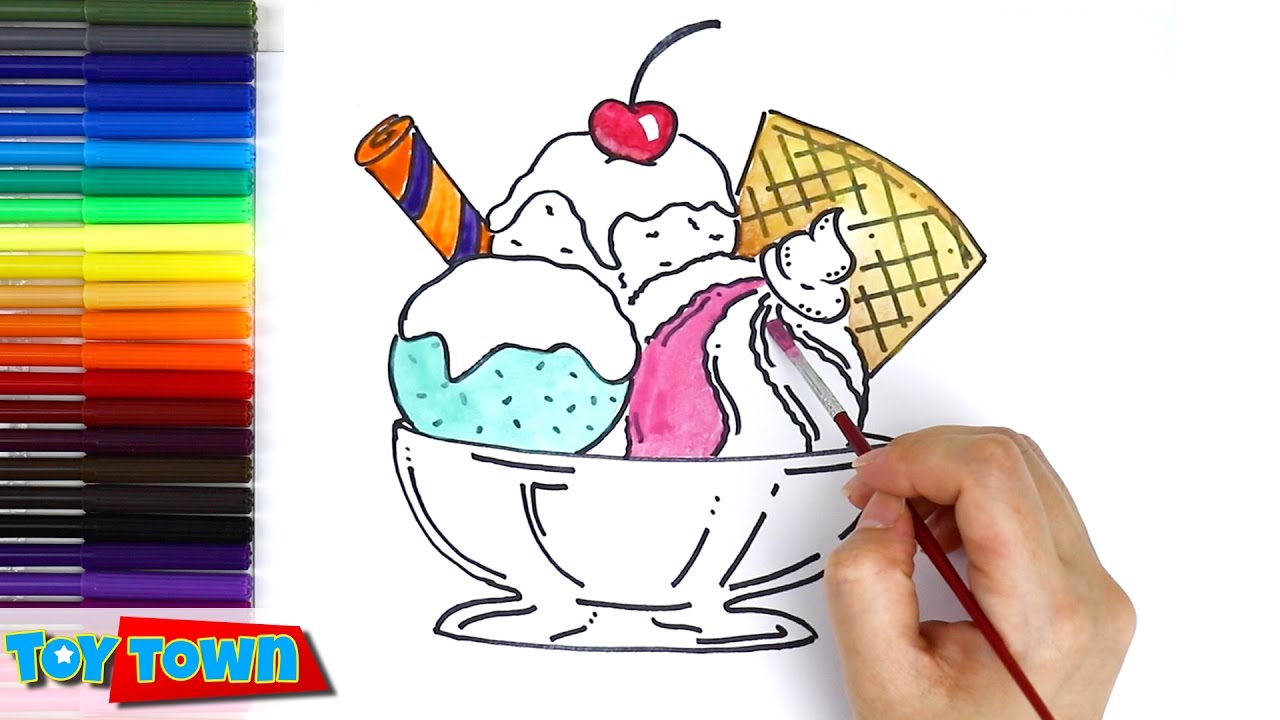 1280x720 How To Draw Ice Cream, Color Ice Cream Drawing For Kids Learning