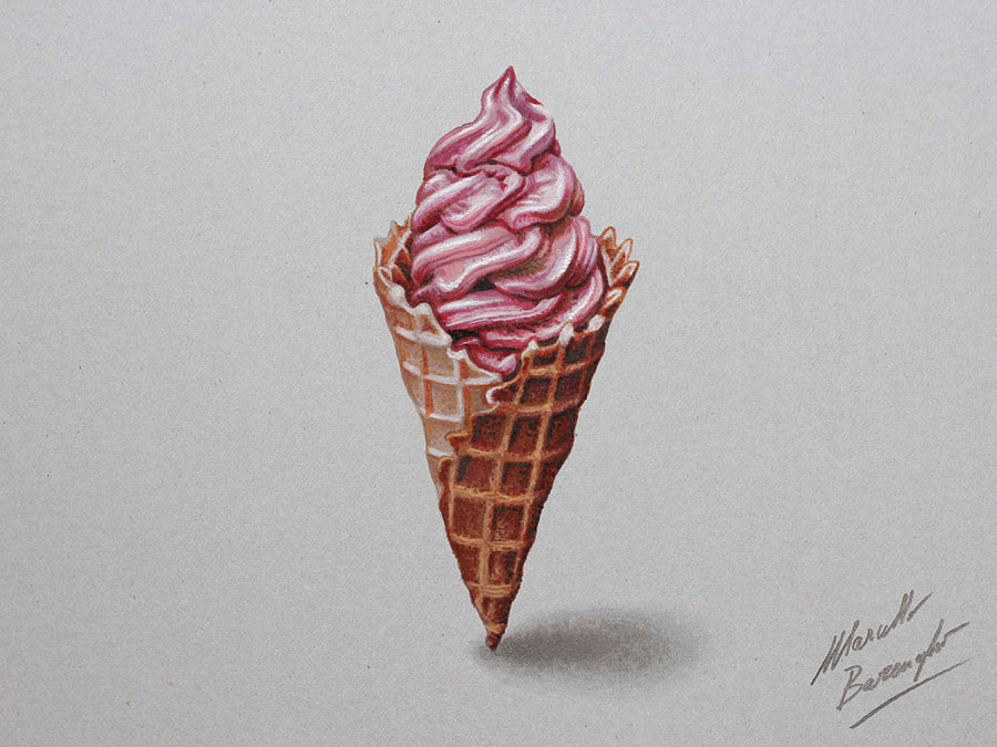900x675 Ice Cream Drawing By Marcello Barenghi By Marcellobarenghi