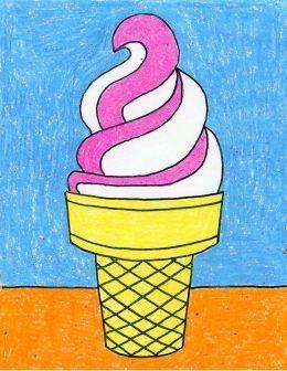 260x336 Draw An Ice Cream Cone Arte Y Pintar Es Divertido