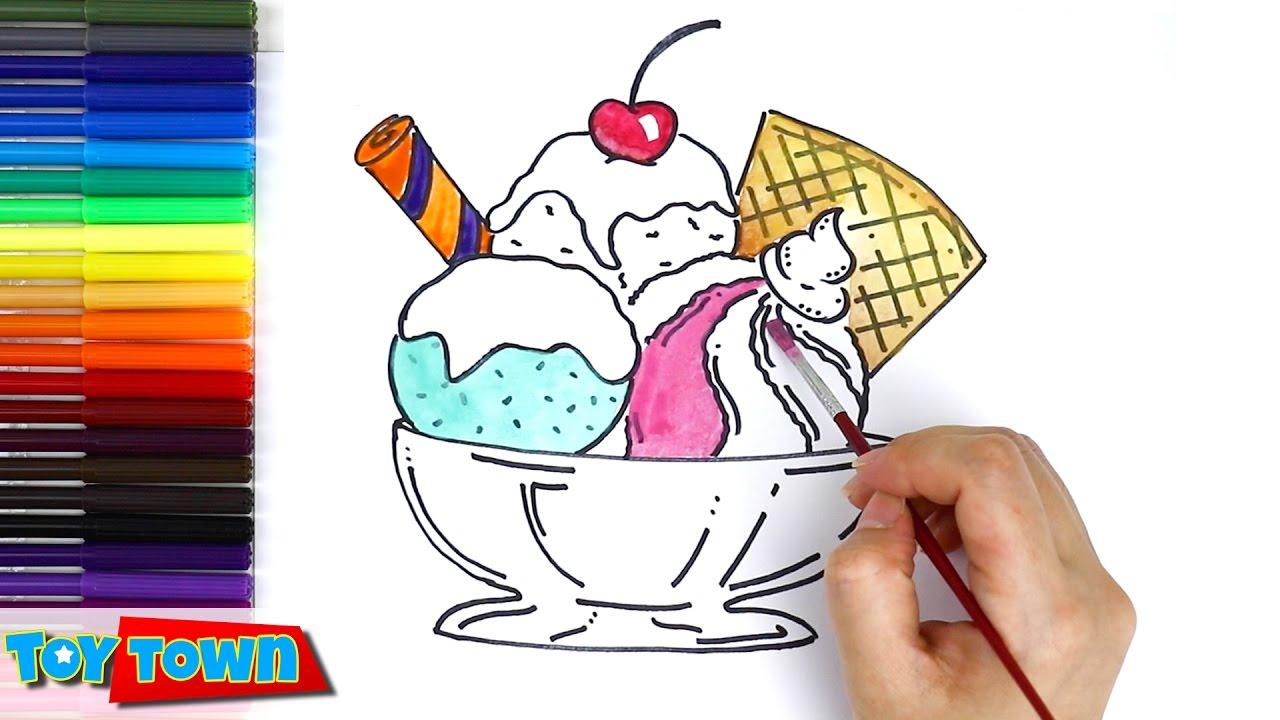 1280x720 Drawing Of Ice Cream Sundae How To Draw Ice Cream, Color Ice Cream