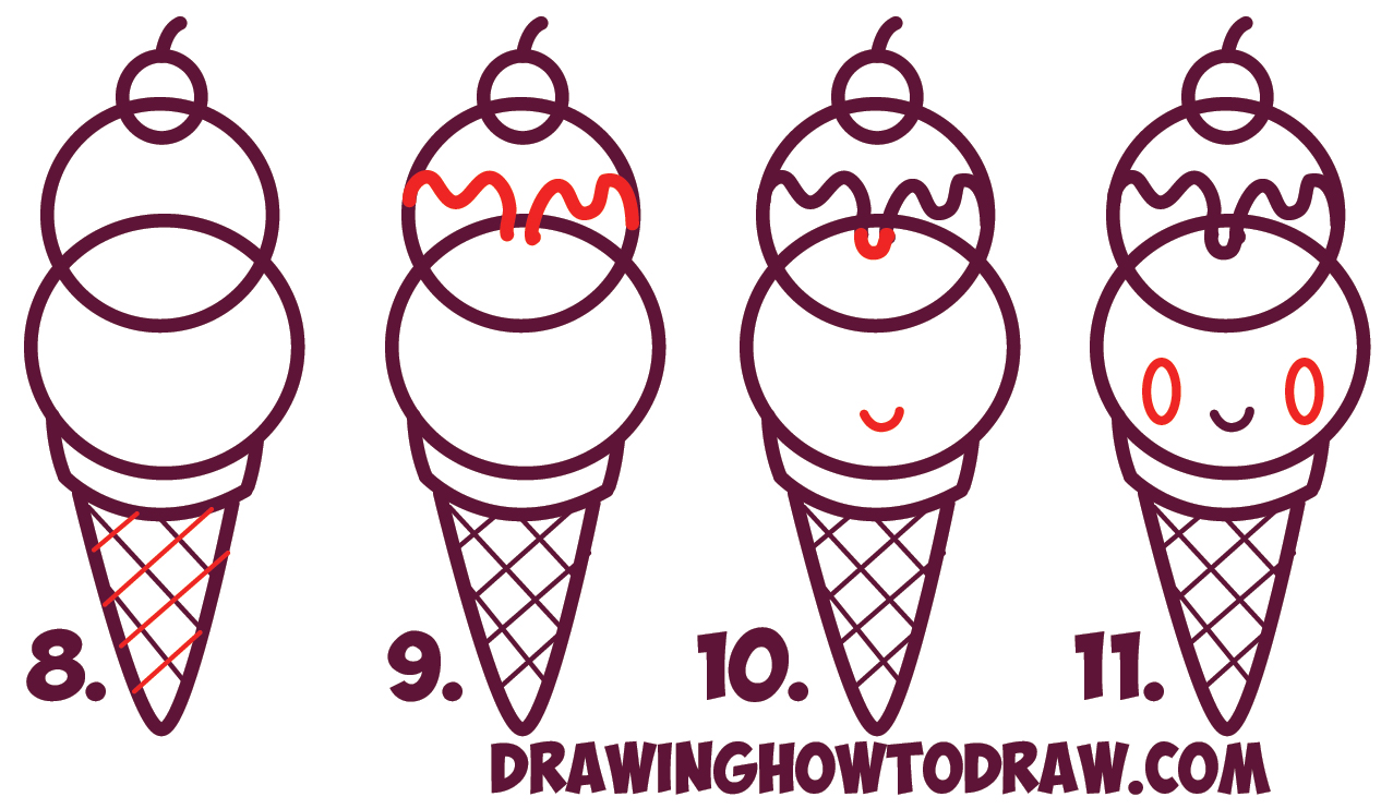 1266x742 How To Draw Cute Kawaii Ice Cream Cone With Face On It