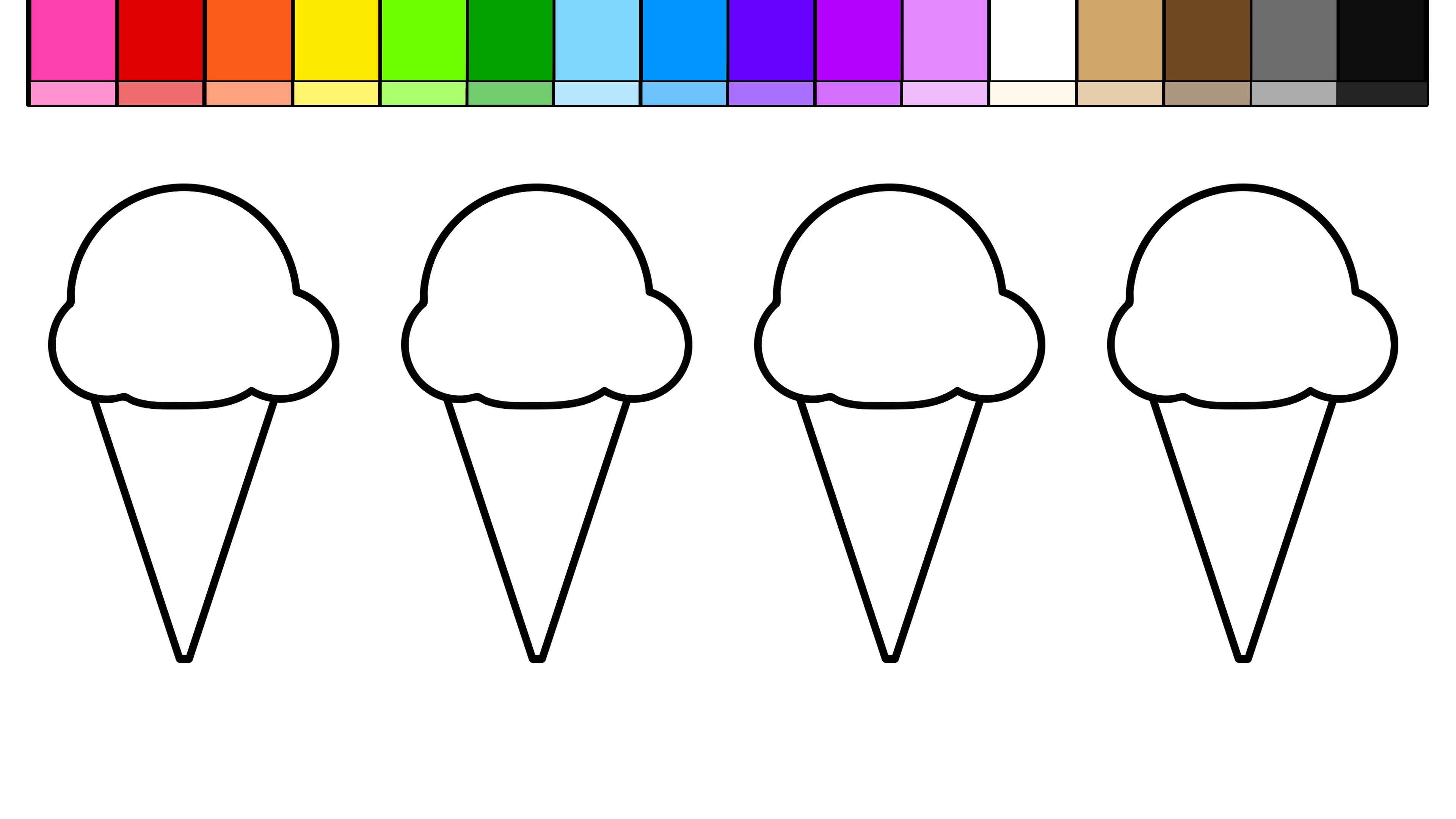 3840x2160 Learn Colors For Kids Color Draw Ice Cream Coloring Pages