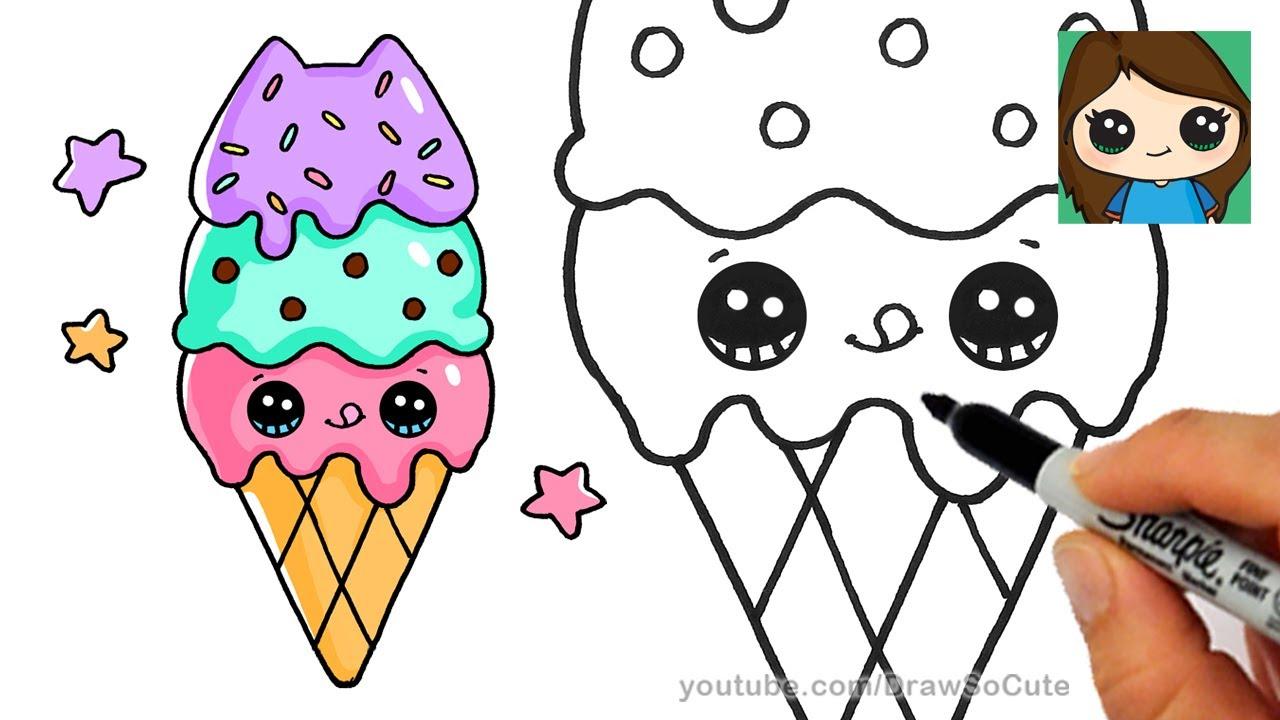 1280x720 How To Draw Ice Cream Cone Easy Pusheen