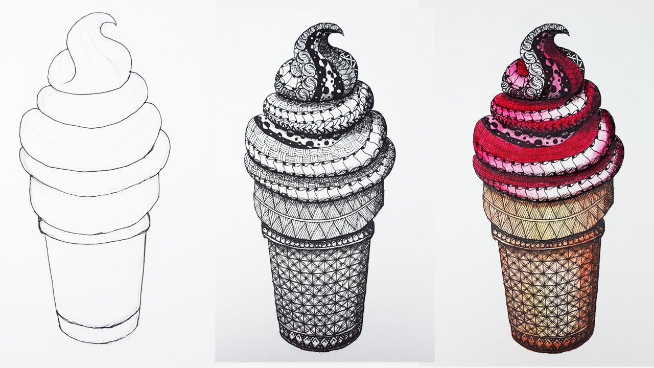 1280x720 Ice Cream Summer Zentangle Watercolor Pencils [Timelapse]