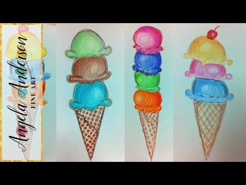 480x360 Ice Cream Cone Colored Pencil Drawing Live Summer Art Camp
