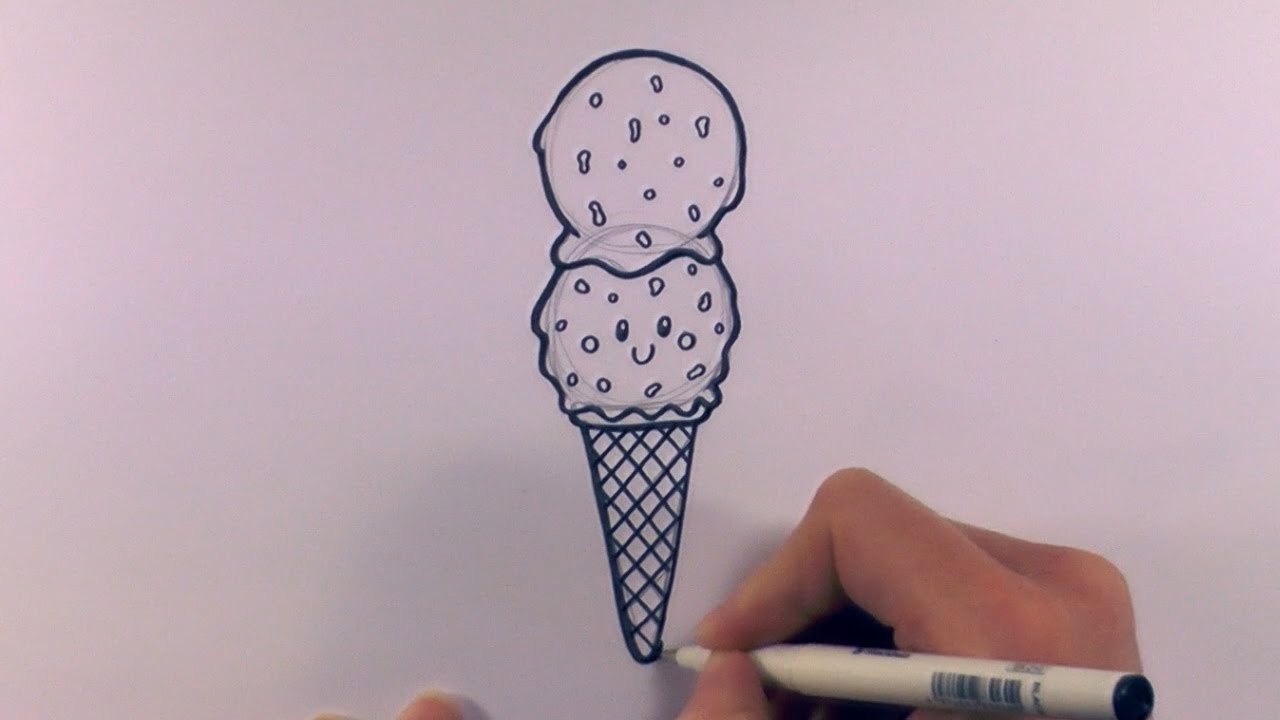 1280x720 How To Draw A Cartoon Double Scoop Chocolate Chip Ice Cream