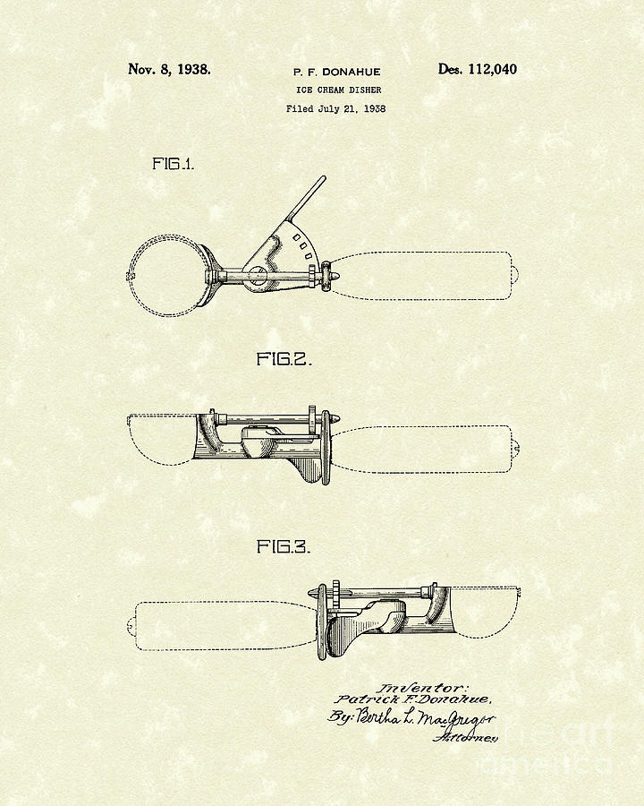 720x900 Ice Cream Scoop 1938 Patent Art Drawing By Prior Art Design