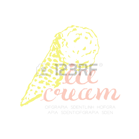 450x450 Ice Cream Scoop Cone Logo Icon Hand Drawing Illustration Ink