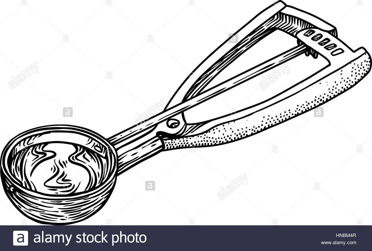 1300x880 Ice Cream Scoop Spoon Illustration, Drawing, Engraving, Line Art