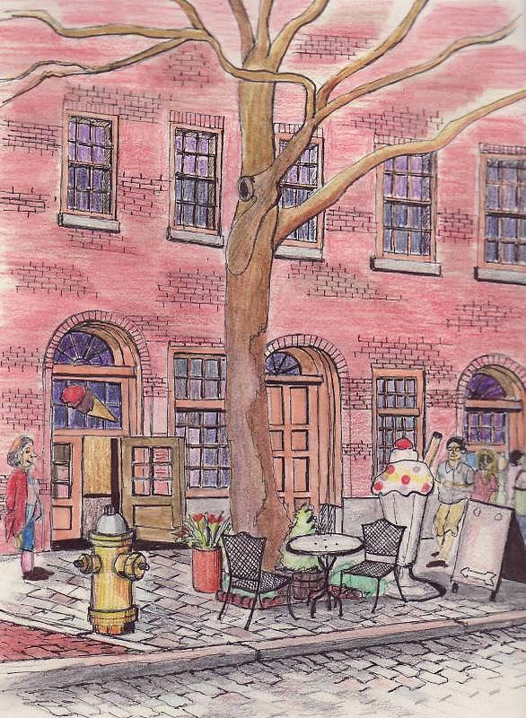 586x800 Salem Ice Cream Shop Drawing By Paul Meinerth