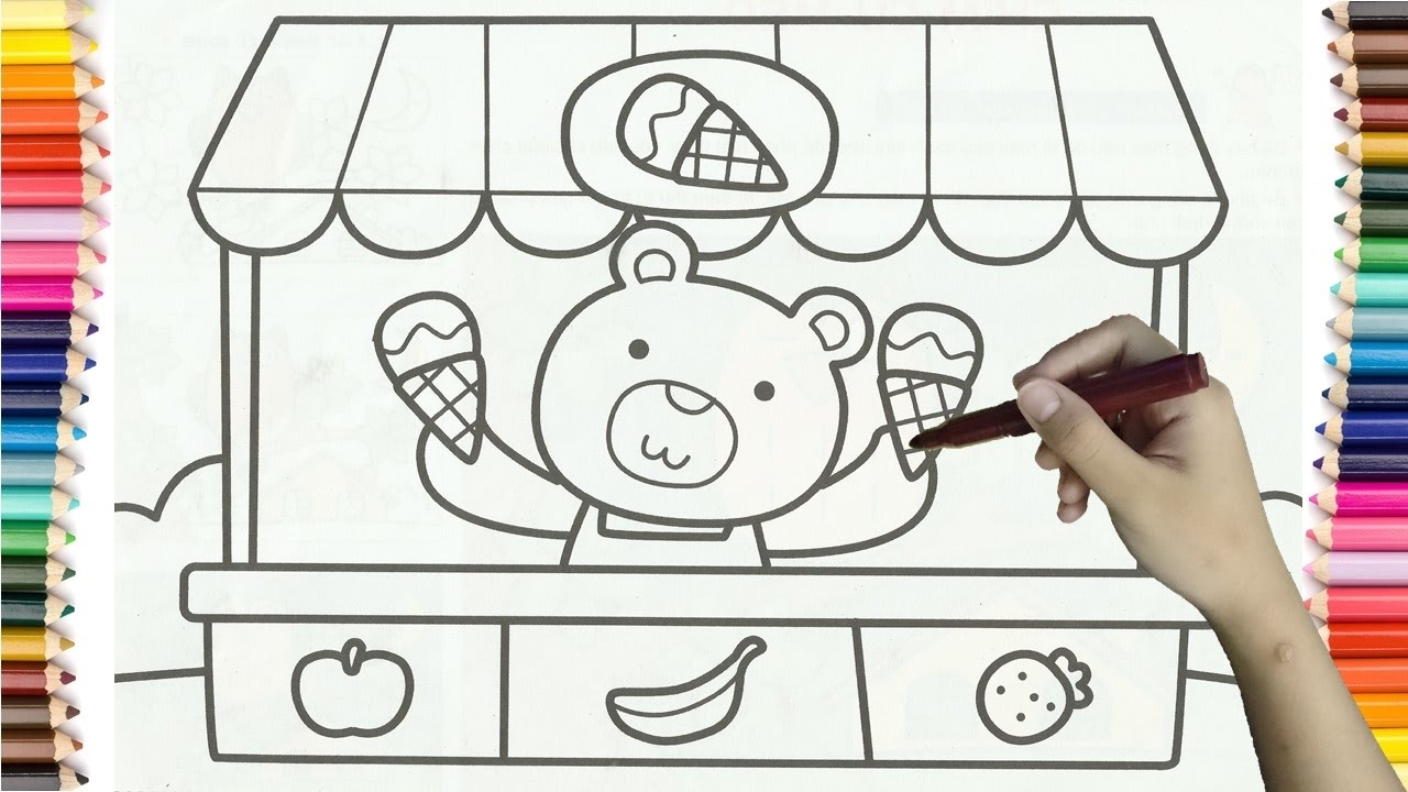 1280x720 To Draw Ice Cream Shop Baby Bear Colorful For Kids