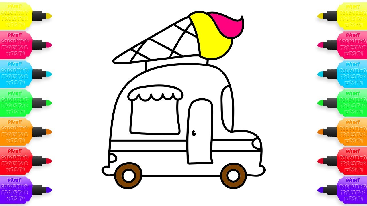1280x720 How To Draw Ice Cream, Truck, Coloring Pages For Kids Nursery