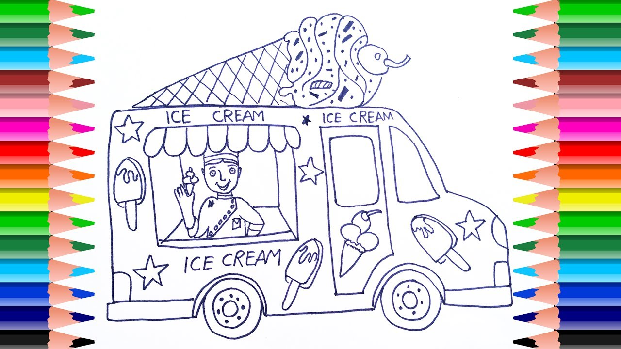 1280x720 How To Draw Ice Cream Truck For Kids Coloring Pages Art Color