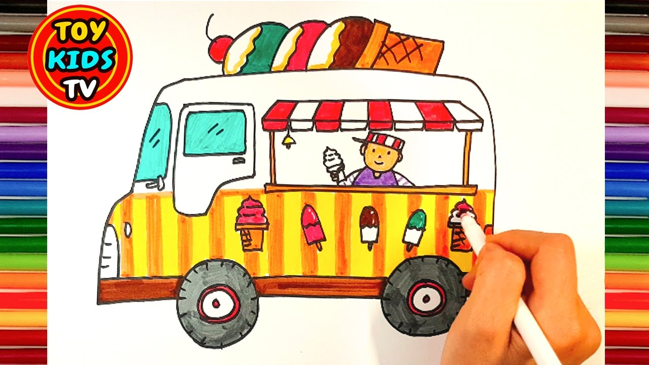 1280x720 How To Draw An Ice Cream Truck Toy Train Painting For Kids