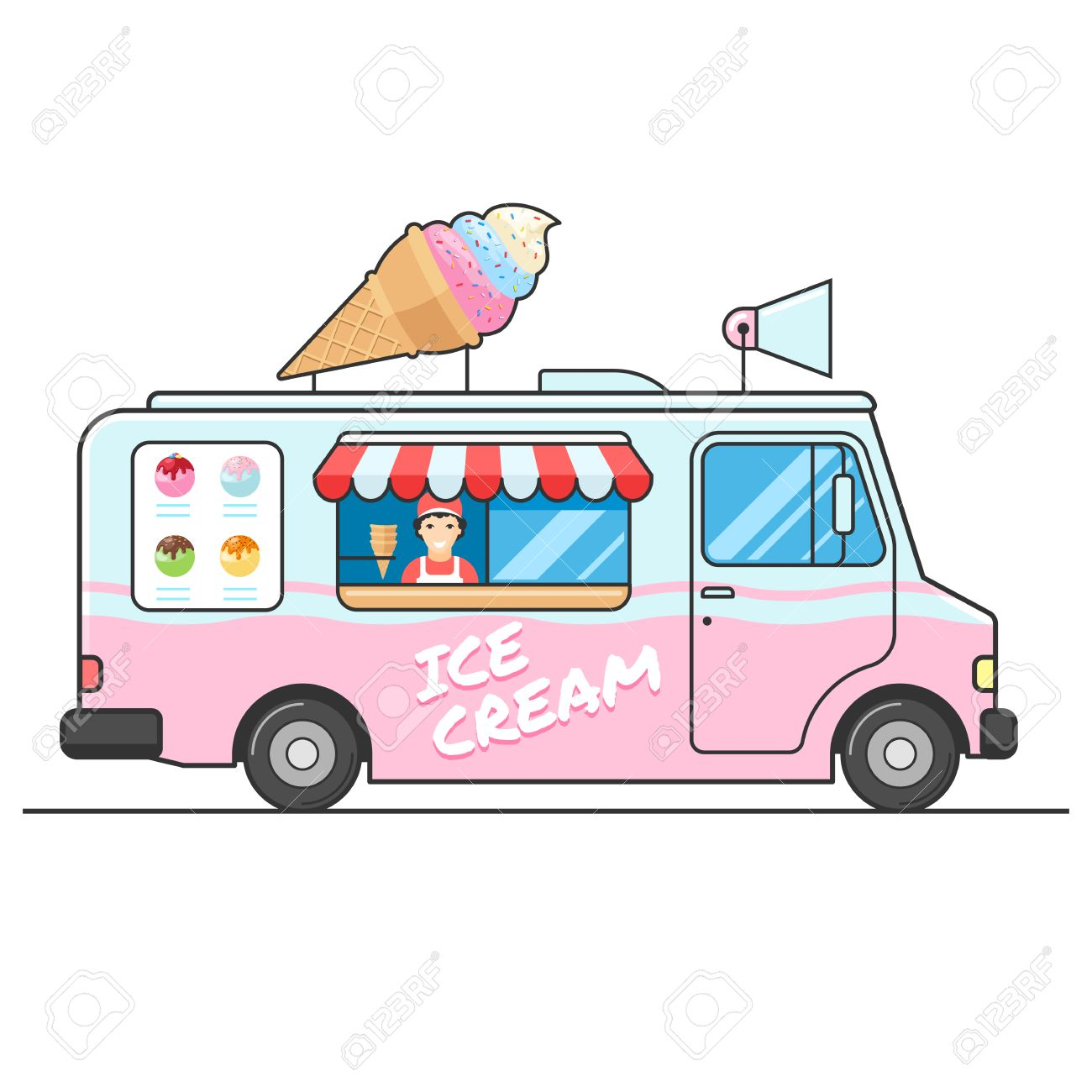 1300x1300 Ice Cream Truck, Side View. Seller Of Ice Cream In The Van. Ice