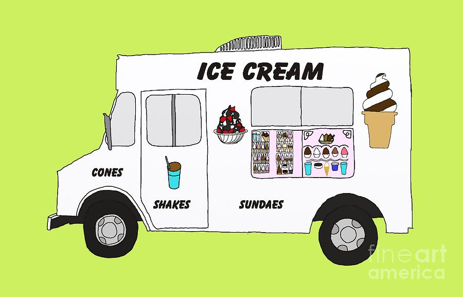 900x577 Ice Cream Truck Digital Art By Priscilla Wolfe