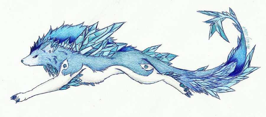 900x397 Ice Crystal Wolf By Navakitty